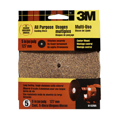 3M  5 in. Aluminum Oxide  Center Mount  Sanding Disc  50 Grit Coarse  5 pk