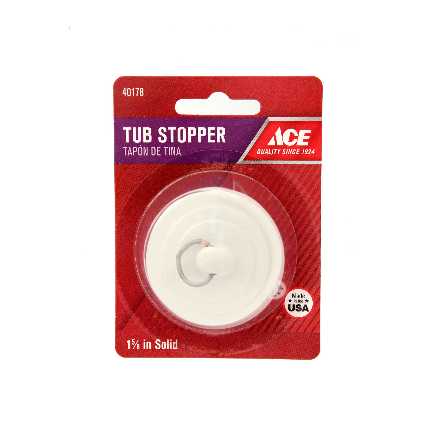 Ace  1-5/8 in. Dia. Tub Stopper  Rubber  White