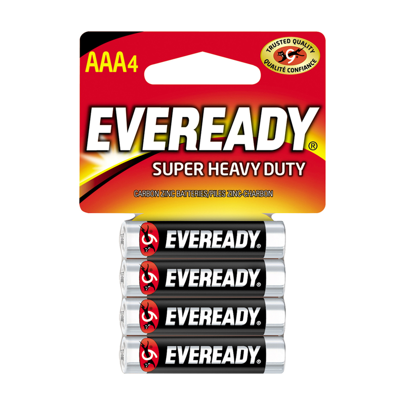 Eveready  Super Heavy Duty  AAA  Zinc Carbon  Batteries  1.5 volts Carded  4 pk
