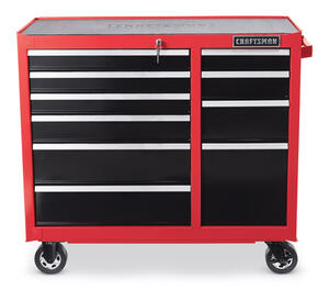 Craftsman  41 in. 10 drawer Metal  Rolling Tool Cabinet  39-1/2 in. H x 18 in. D Red/Black