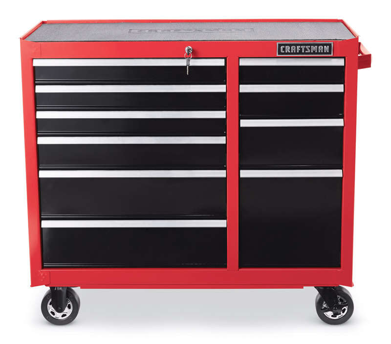 Craftsman  41 in. 10 drawer 18 in. D Red/Black  Metal  Rolling Tool Cabinet