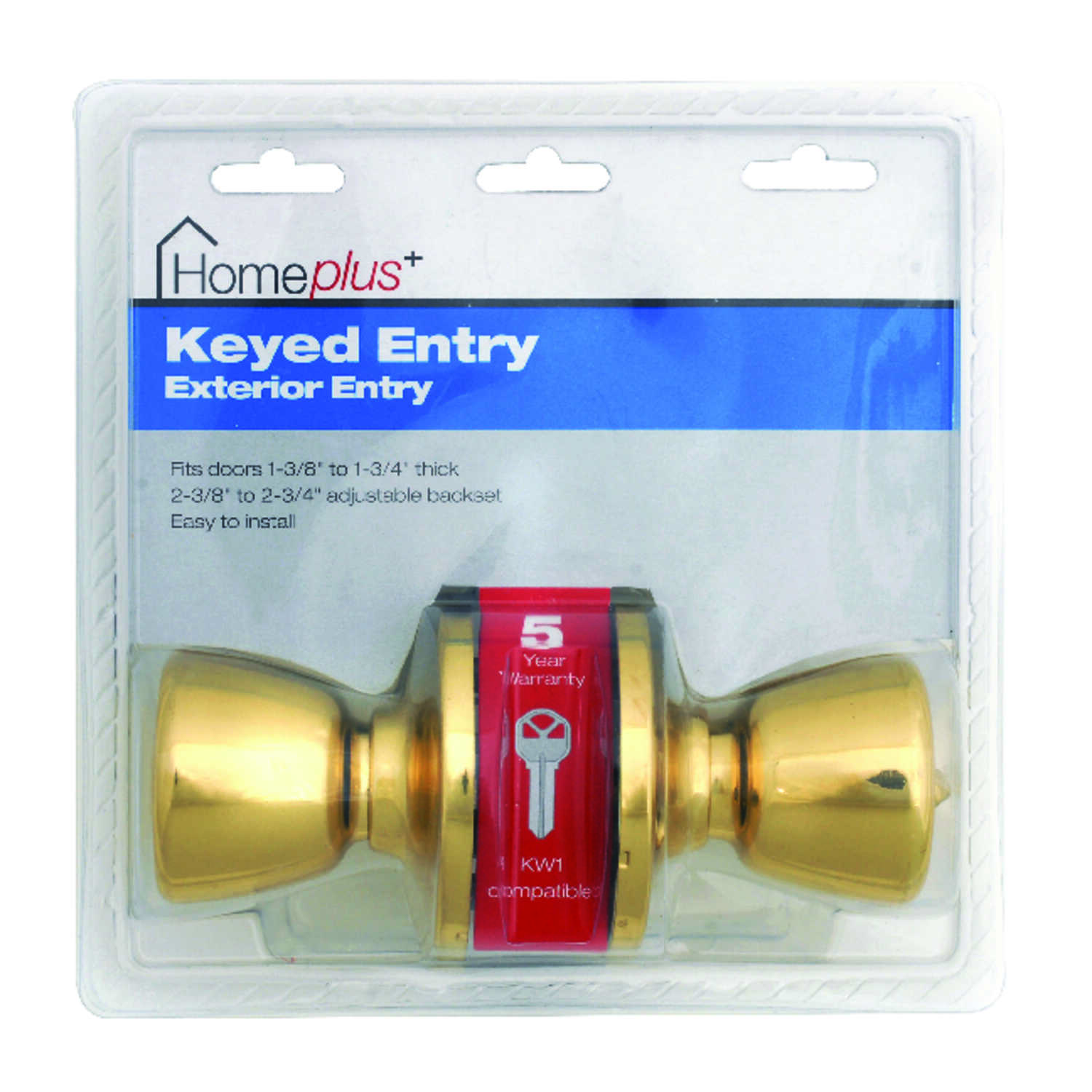 Home Plus  Polished Brass  Steel  Entry Lockset  ANSI Grade 3  1-3/4 in.