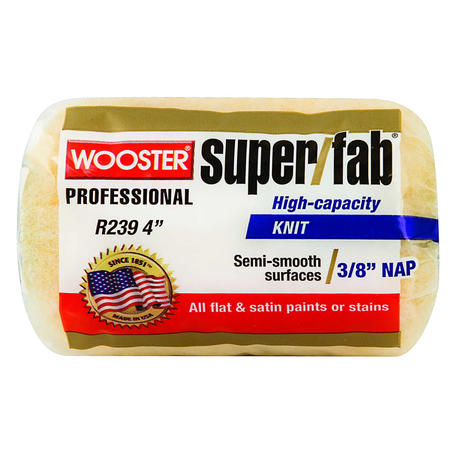 Wooster  Super/Fab  Fabric  3/8 in.  x 4 in. W Regular  Paint Roller Cover  For Medium Surfaces 1 pk