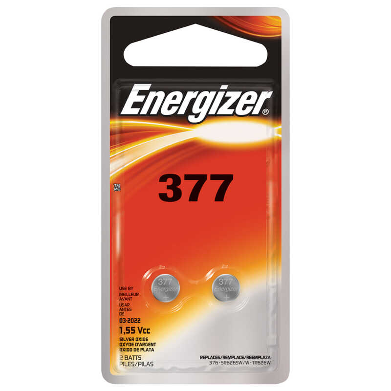 Energizer  Silver Oxide  377  Electronic/Watch Battery  1.5 volt 2 pk