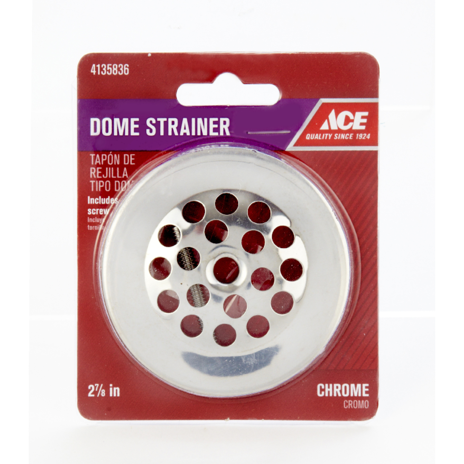 Ace  2-7/8 in. Chrome  Chrome  Dome Strainer