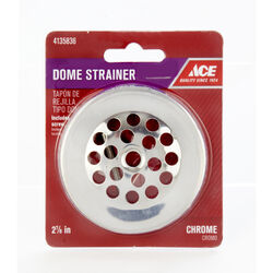 Ace  2-7/8 in. Chrome  Metal  Dome Strainer