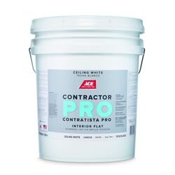 Ace  Contractor Pro  Flat  White  Paint  Interior  5 gal.