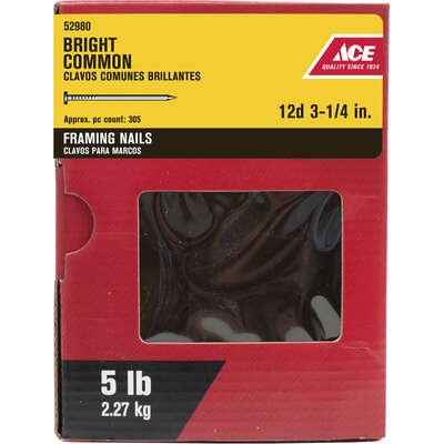 Ace  12D  3-1/4 in. Framing  Bright  Steel  Nail  Flat  5 lb.