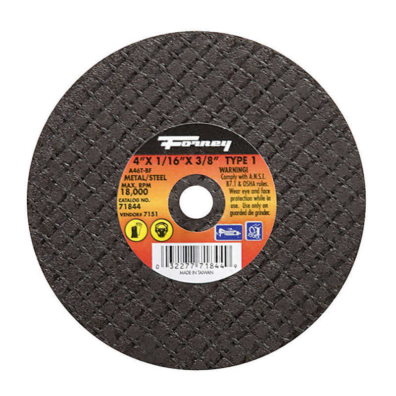 Forney  4 in. Aluminum Oxide  Metal Cut-Off Wheel  1/16 in.  x 3/8 in.  1 pc.