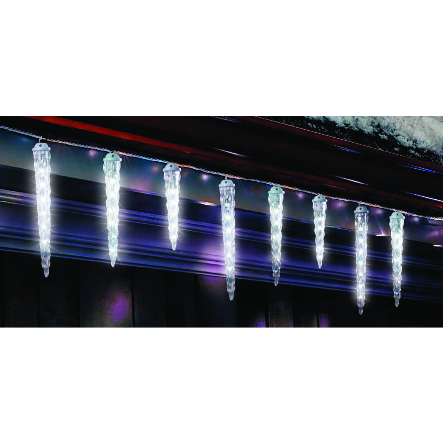 Celebrations  LED  Melting Icicle  Light Set  Warm White  9 ft. 10 lights