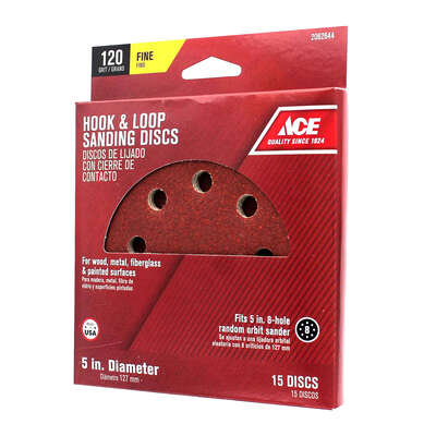 Ace  5 in. Aluminum Oxide  Hook and Loop  Sanding Disc  120 Grit Fine  15 pk