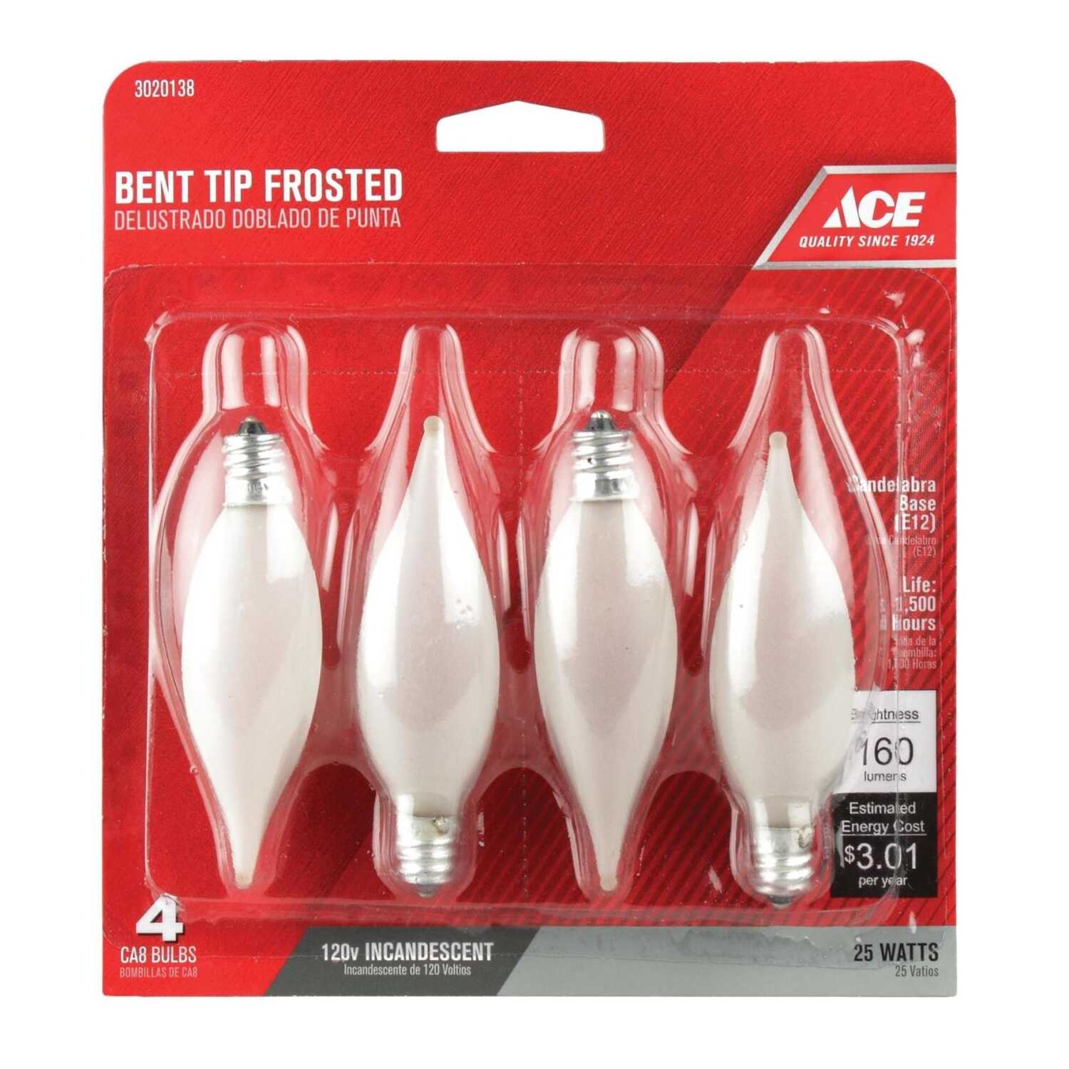 Ace  25 watts CA8  Bent Tip  Incandescent Light Bulb  235 lumens White (Frosted)  4 pk
