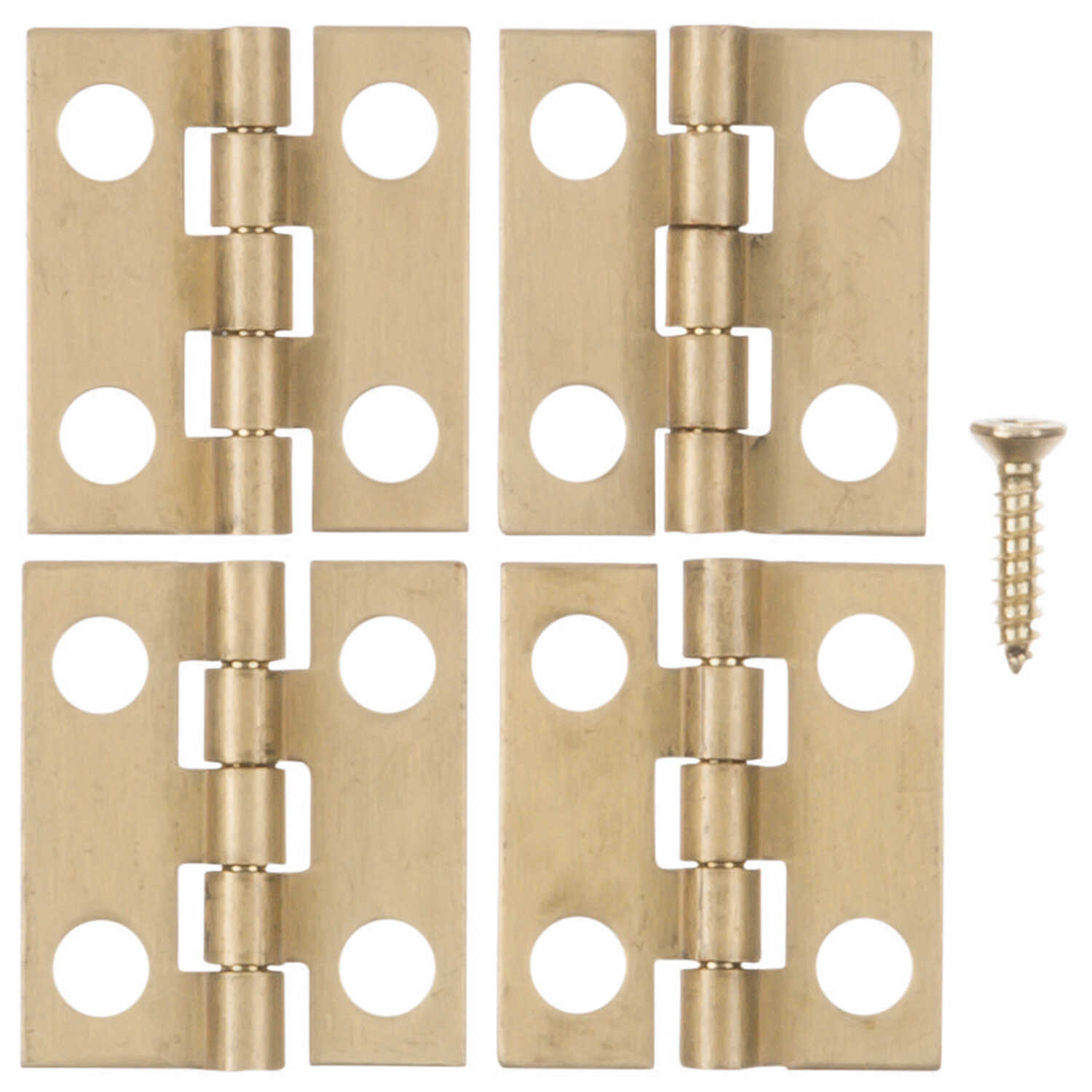 Ace  11/16 in. W x 3/4 in. L Polished Brass  Brass  Medium Hinge  4 pk