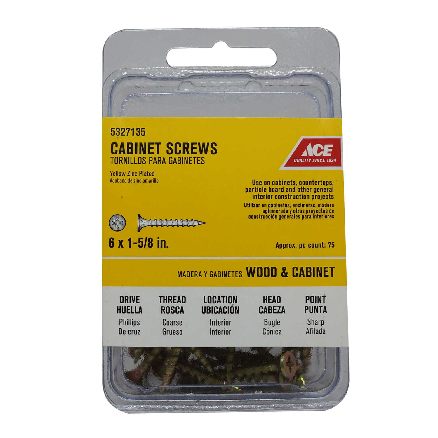 Ace  No. 6   x 1-5/8 in. L Phillips  Yellow Zinc-Plated  Bugle  Steel  Cabinet Screws  75 pk