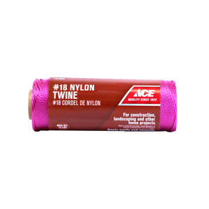 Ace  18 in. Dia. x 525 ft. L Pink  Twisted  Nylon  Twine