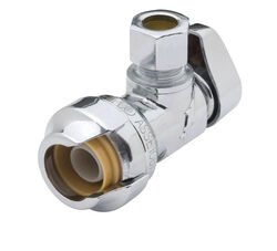 SharkBite  Push   x 3/8 in.  Chrome Plated  Angle Stop Valve  1/2 in. Compression