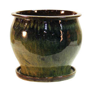 Trendspot  8 in. H Green  Ceramic Pot