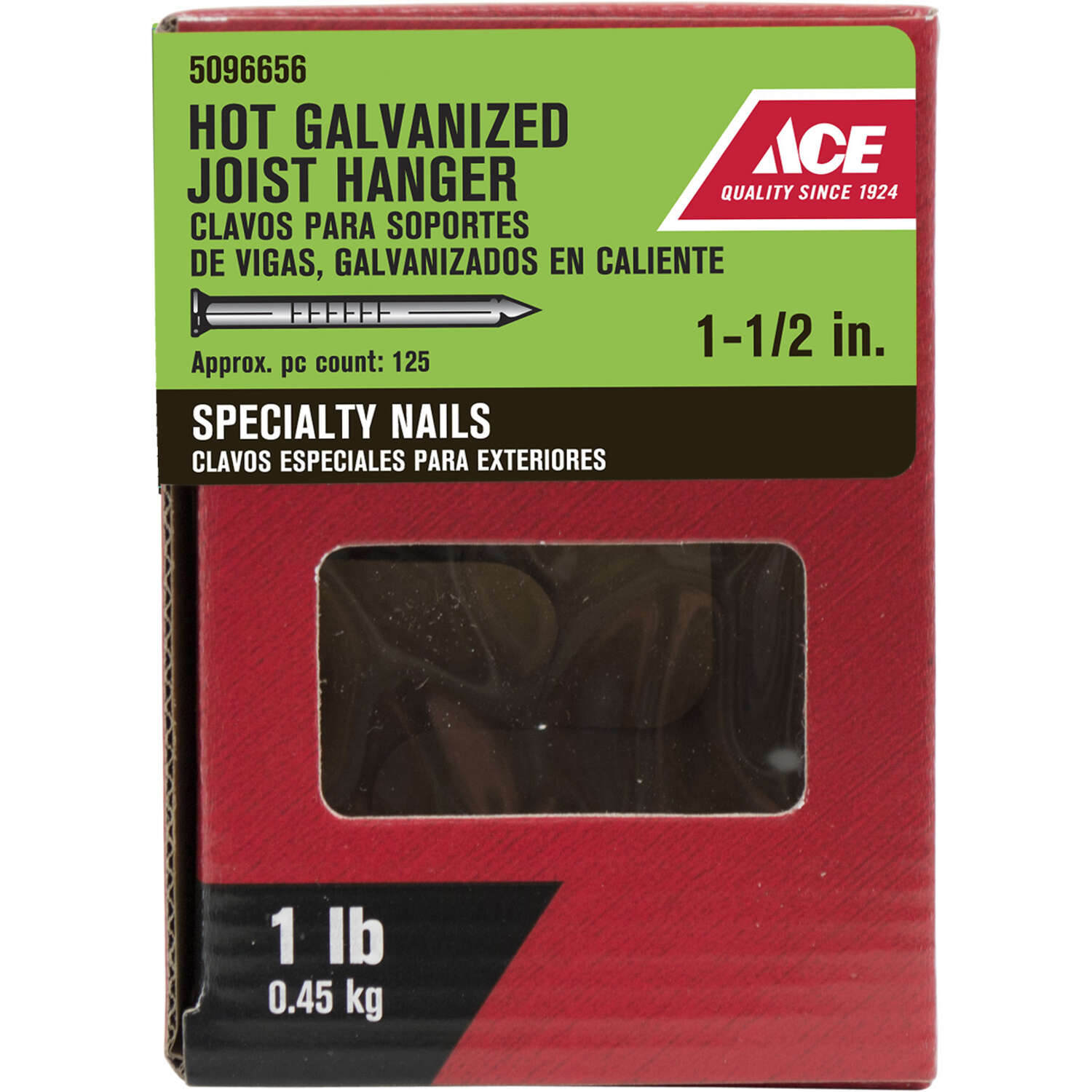 Ace  1-1/2 in. Joist Hanger  Hot-Dipped Galvanized  Steel  Nail  Round  1 lb.
