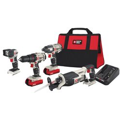 Porter Cable 20V MAX 20 volt Cordless Brushed 4 tool Combo Kit