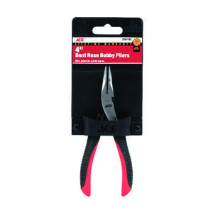 Ace  4 in. Alloy Steel  Bent Nose Pliers  Red  1 pk