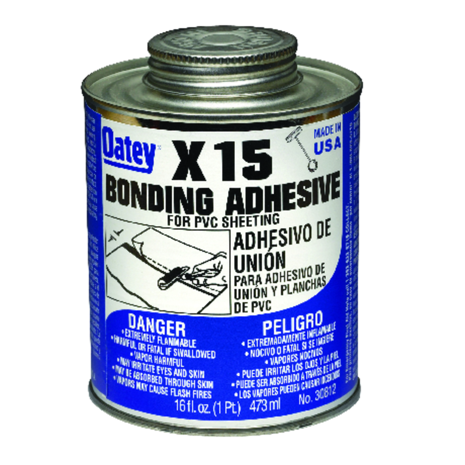Oatey  X-15  Clear  Adhesive  16 oz. For PVC Sheeting