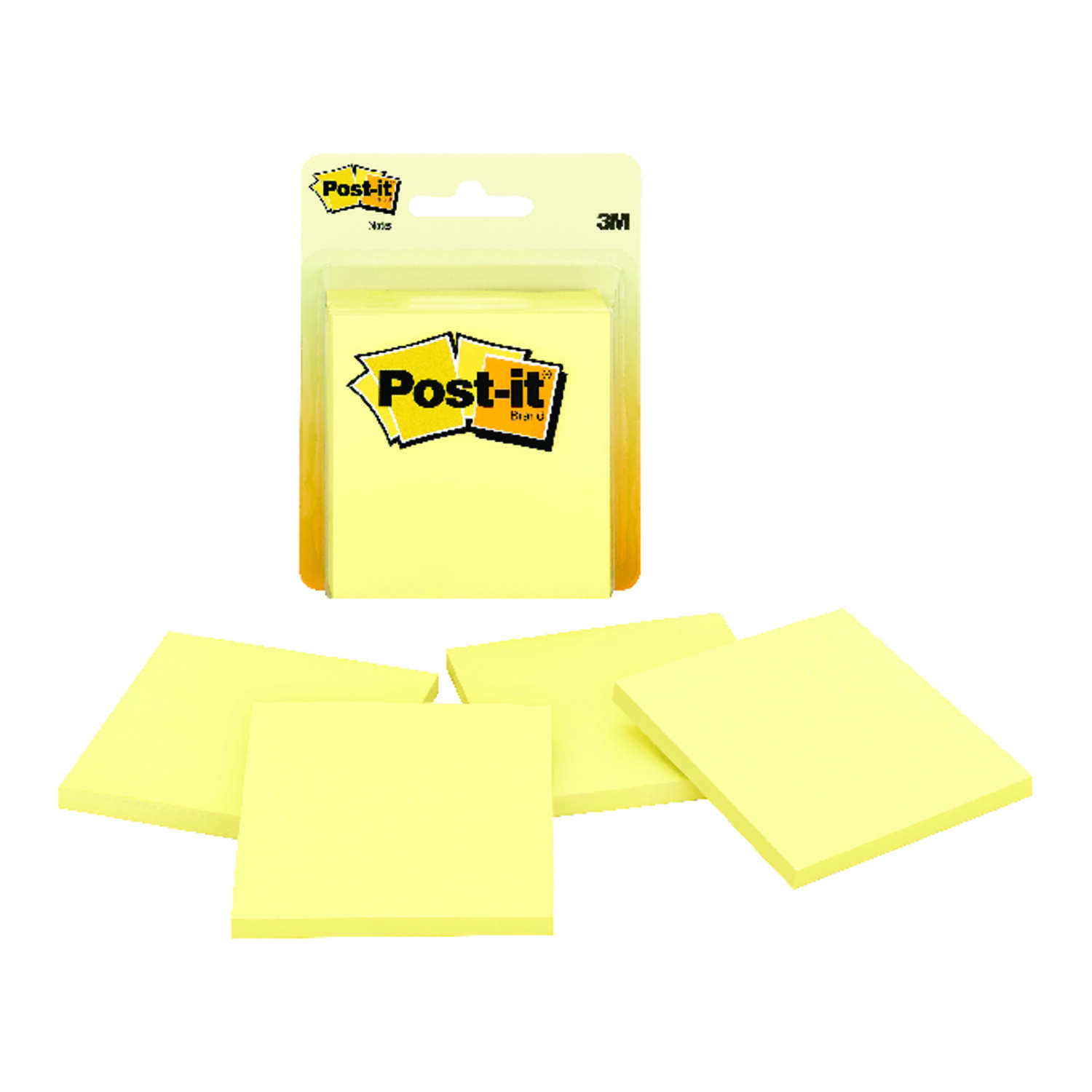 Post-it 3 in. W x 3 in. L Canary Yellow Sticky Notes 4 pad