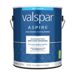 Valspar  Aspire  Flat  Tintable  Pure White Tint Base  Acrylic Latex  Paint and Primer  Indoor  1 ga