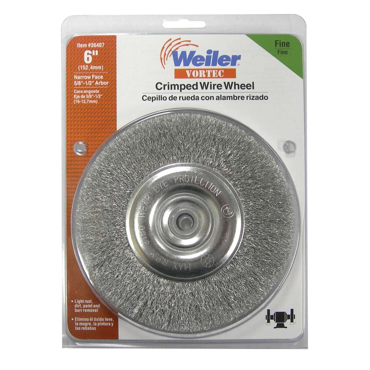 Weiler  Vortec  6 in. Fine  Crimped  Wire Wheel  Carbon Steel  3750 rpm 1 pc.