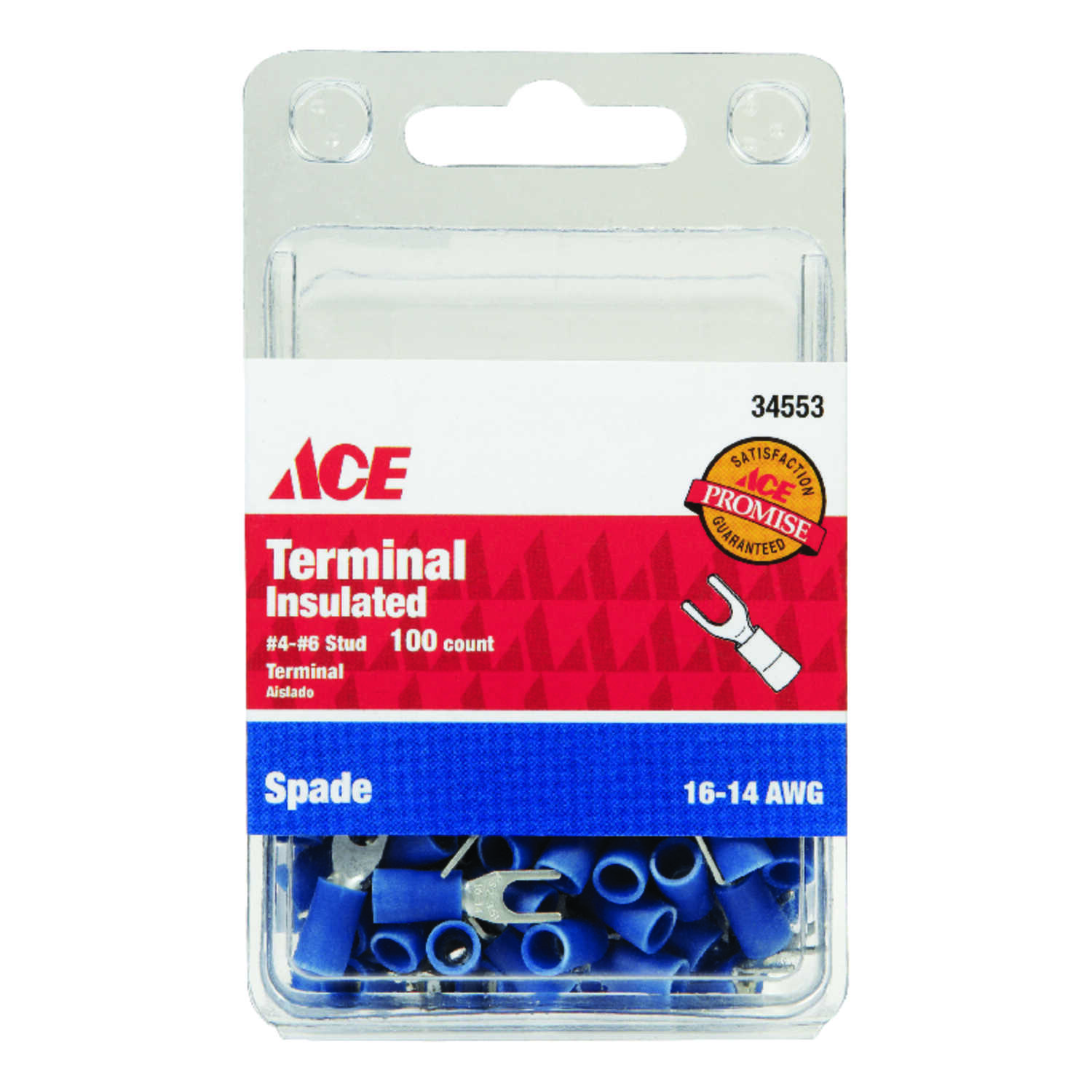 Ace  Insulated Wire  Spade Terminal  100 pk