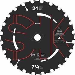 SKILSAW  7-1/4  Dia. x 5/8 in.  Carbide Tipped Steel  Circular Saw Blade  24 teeth 1 pc.