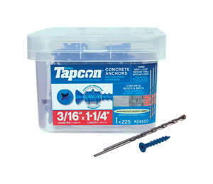 Tapcon  1/4 in. Dia. x 1-1/4 in. L Flat  Steel  Concrete Screw Anchor  225 pk