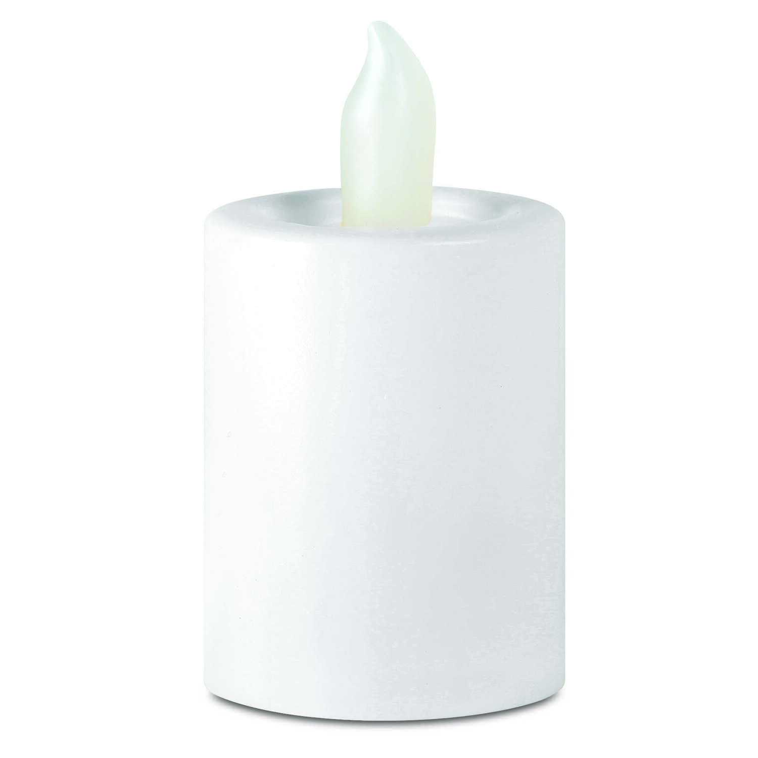 Order  White  Tealight and Votive  Flameless Flickering Candle  1-1/2 in. H x 1-1/2 in. Dia.