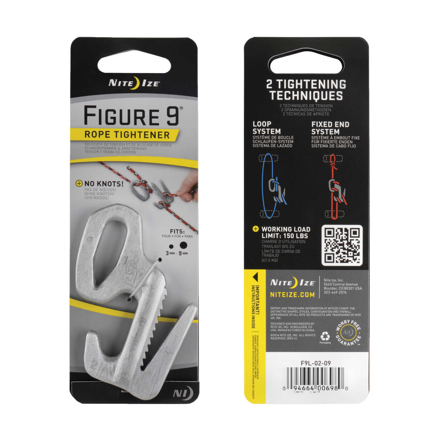 Nite Ize  Figure 9  3 in. L Silver  Twisted  Plastic  Tie-Down Rope