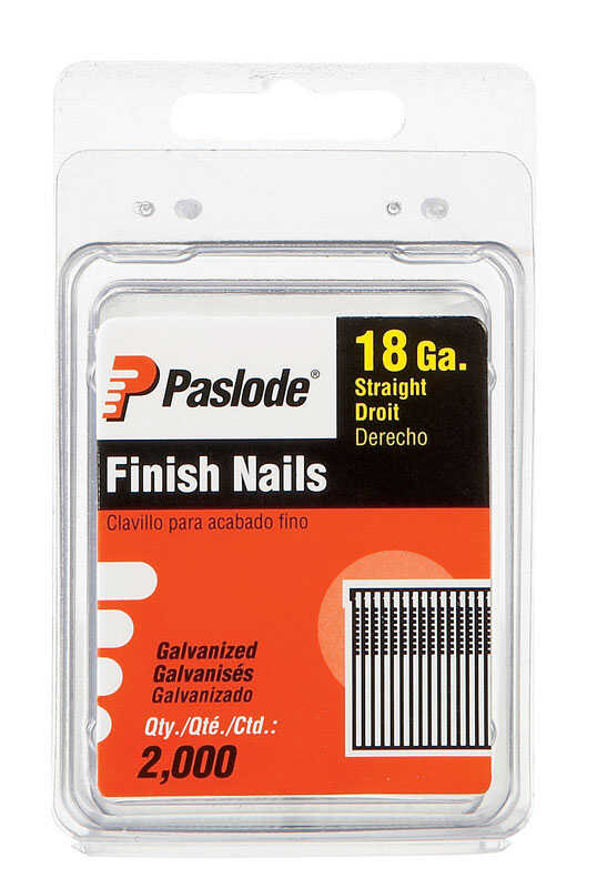 Paslode  18 Ga. Screw Shank  Straight Strip  Brad Nails  1 in. L x 0.11 in. Dia. 2,000 pk