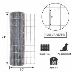 Garden Zone  24 in. H x 50 ft. L Steel  Garden  Fence  Silver