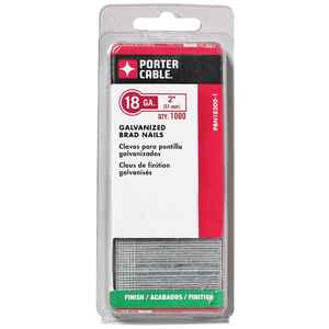 Porter Cable  18 Ga. Smooth Shank  Straight Strip  Brad Nails  2 in. L 1,000 pk