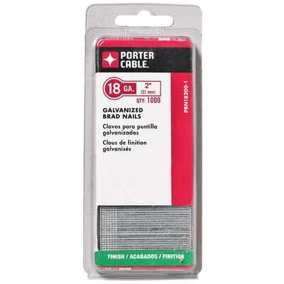 Porter Cable  2 in. 18 Ga. Straight Strip  Brad Nails  Smooth Shank  1,000 pk