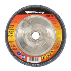 Forney  4-1/2 in. Dia. x 7/8 in.  Zirconia Aluminum Oxide  Flap Disc  60 Grit Fine  13300 rpm 1 pc.