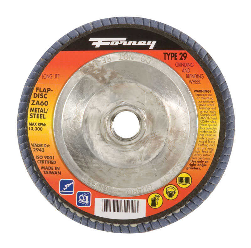 Forney  4-1/2 in. Dia. x 7/8 in. in.  Zirconia Aluminum Oxide  Flap Disc  60 Grit Fine  13300 rpm 1