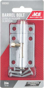 Ace Barrel Bolt 3 in. Galvanized For Lightweight Doors, Chests and Cabinets