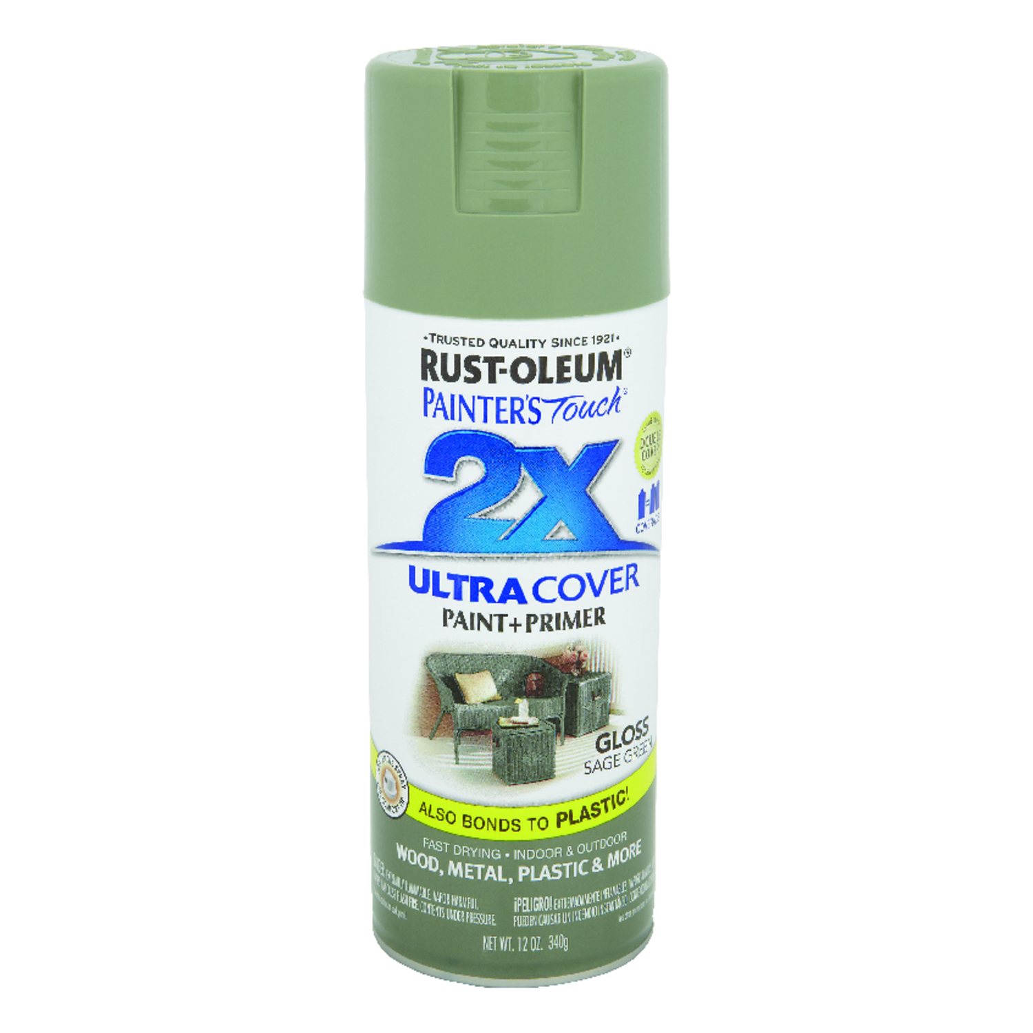 Rust-Oleum  Painter's Touch Ultra Cover  Gloss  Spray Paint  12 oz. Sage Green