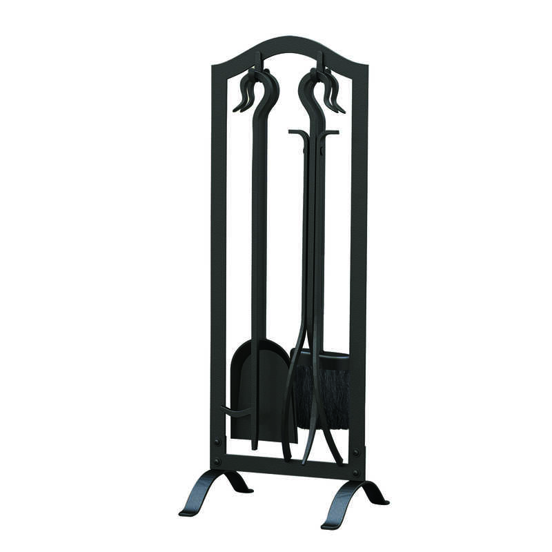 Panacea  Black  Antique  Steel  Fireplace Tool Set