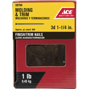 Ace  3D  1-1/4 in. L Finishing  Black Coating  Nail  Smooth Shank  Brad  1 lb.
