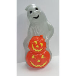 Union Products  Blow Mold Ghost  Lighted Orange/White  Halloween Decoration  31 in. H x 15.5 in. W 1
