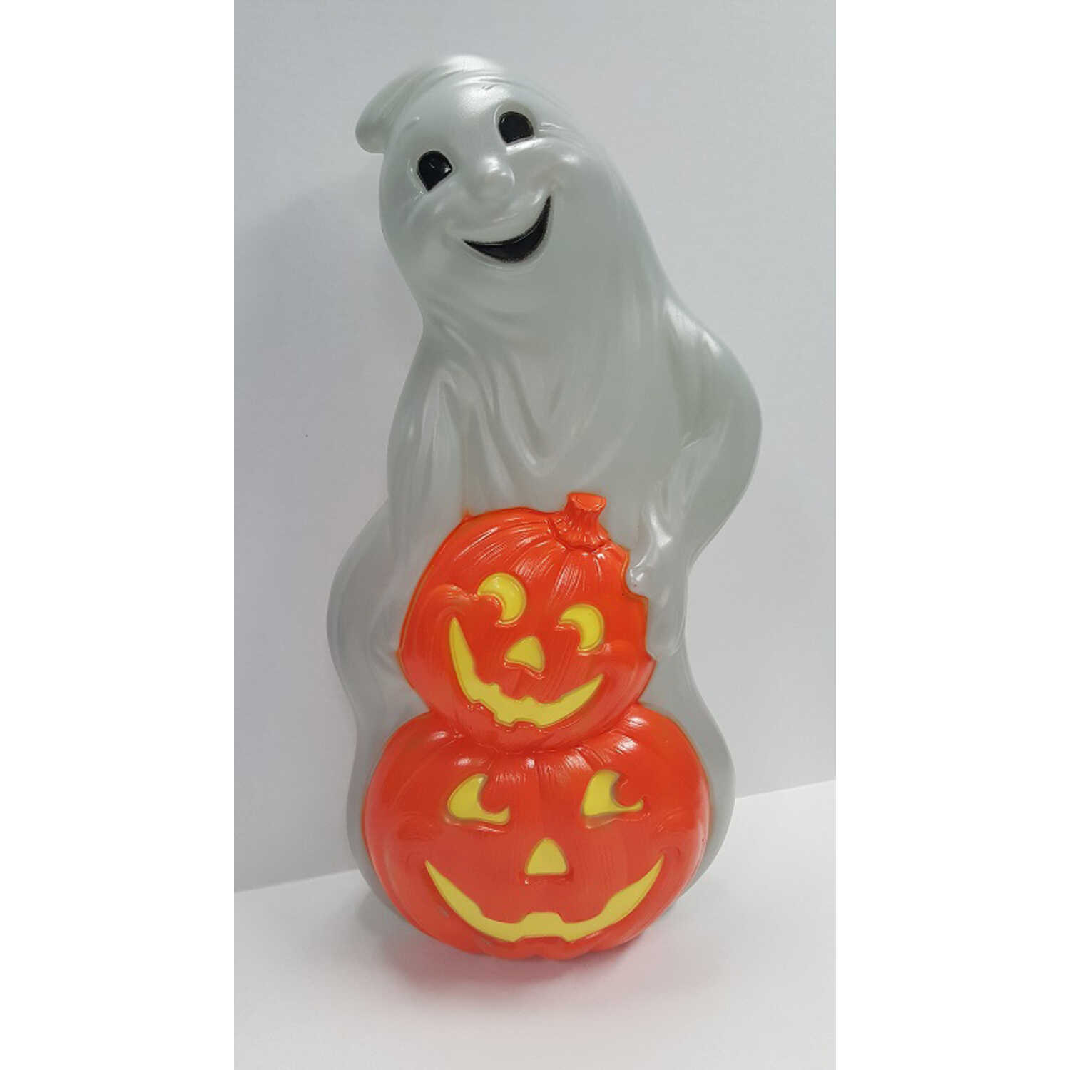 Union Products  Blow Mold Ghost  Lighted Orange/White  Halloween Decoration  31 in. H x 15.5 in. W x