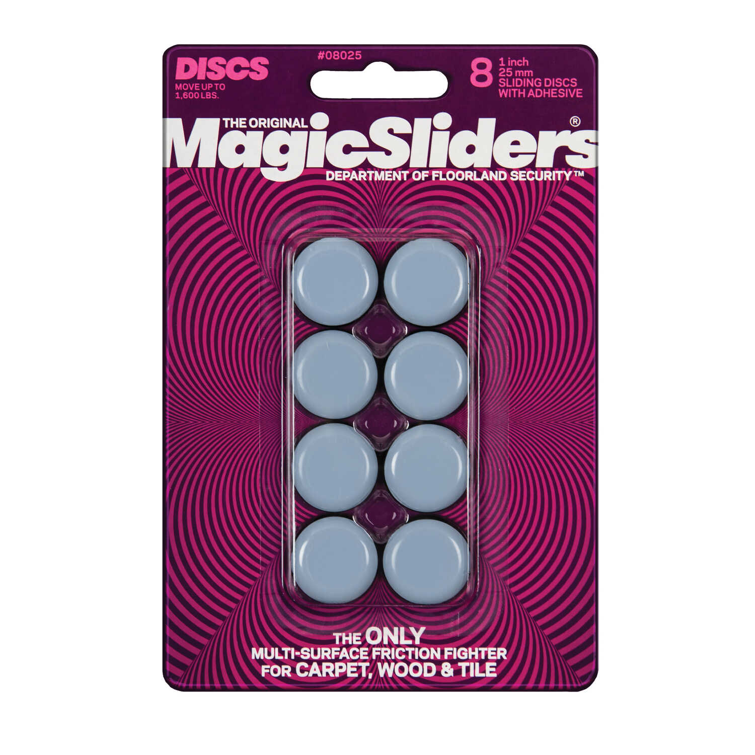 Magic Sliders  Plastic  Floor Slide  Gray  Round  1 in. W x 1 in. L 8 pk Self Adhesive