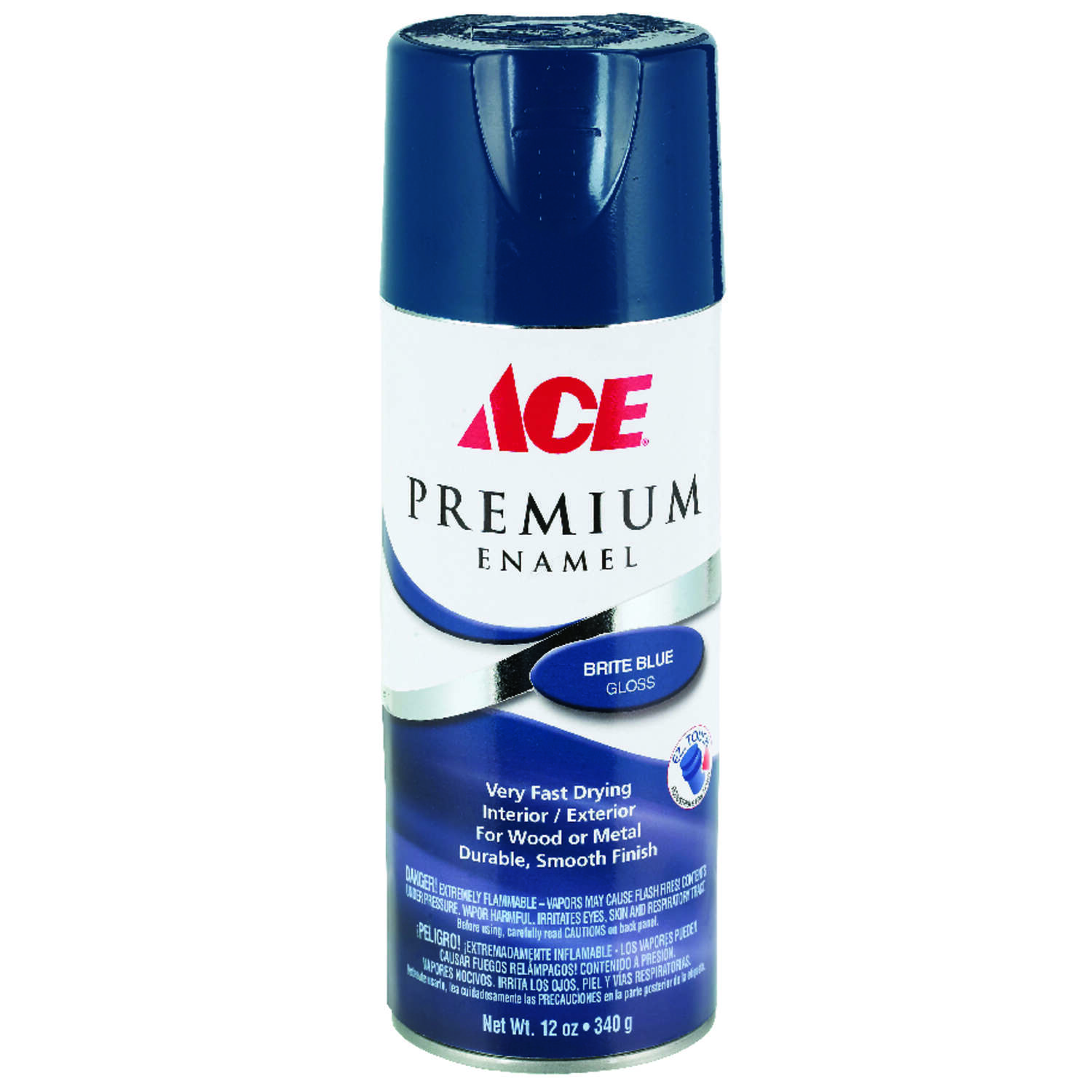 Ace  Premium  Gloss  Brite Blue  Enamel Spray Paint  12 oz.