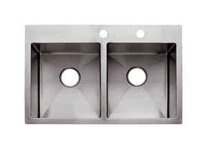 Franke  Stainless Steel  Dual Mount  33 in. W x 22 in. L Two Bowls  Kitchen Sink