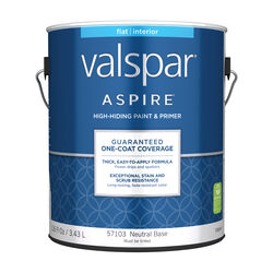 Valspar  Aspire  Flat  Tintable  Neutral Base  Paint and Primer  Interior  1 gal.