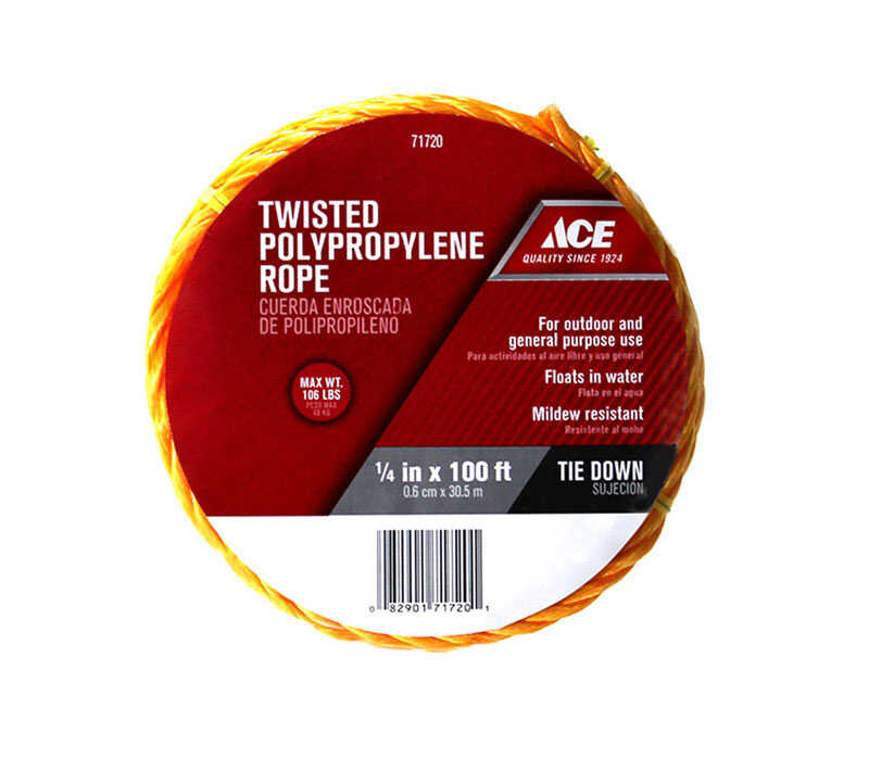 Ace  1/4 in. Dia. x 100 ft. L Yellow  Twisted  Rope  Poly